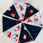 Father Christmas on Blue Scandi Mini Bunting